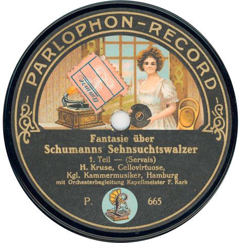 Fantasie über Schumanns [sic] Sehnsuchtswalzer (Servais)' (78 rpm), Beka-Meister-Plastinka R.665/ 6, Berlin, 1911